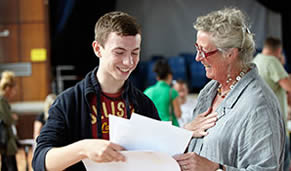 Student and parent celebrating results