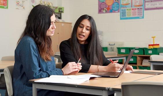 Teacher prepping student for exam