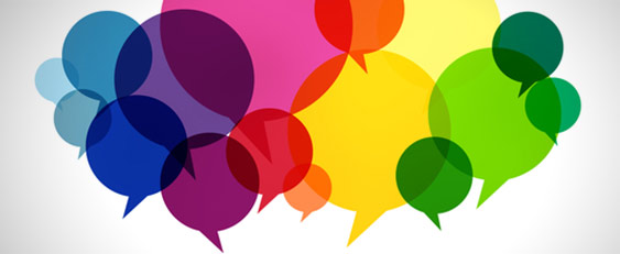 different coloured speech bubbles Book now: free spring hub school events