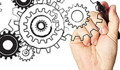 image of cogs with hand drawing with pen