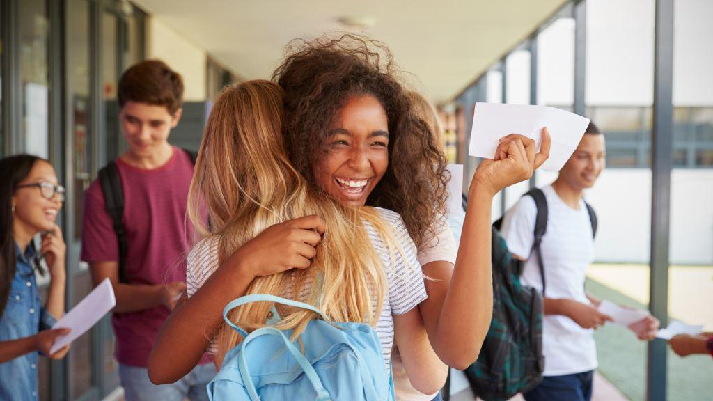 students celebrating results