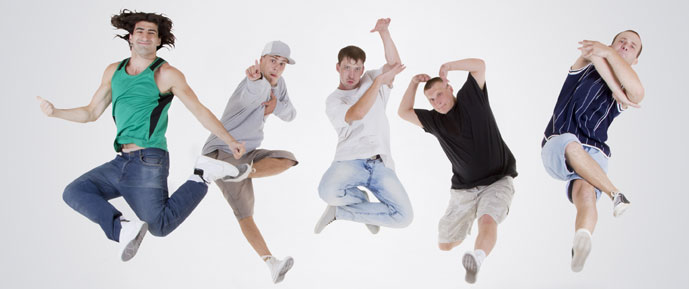 Young men jumping