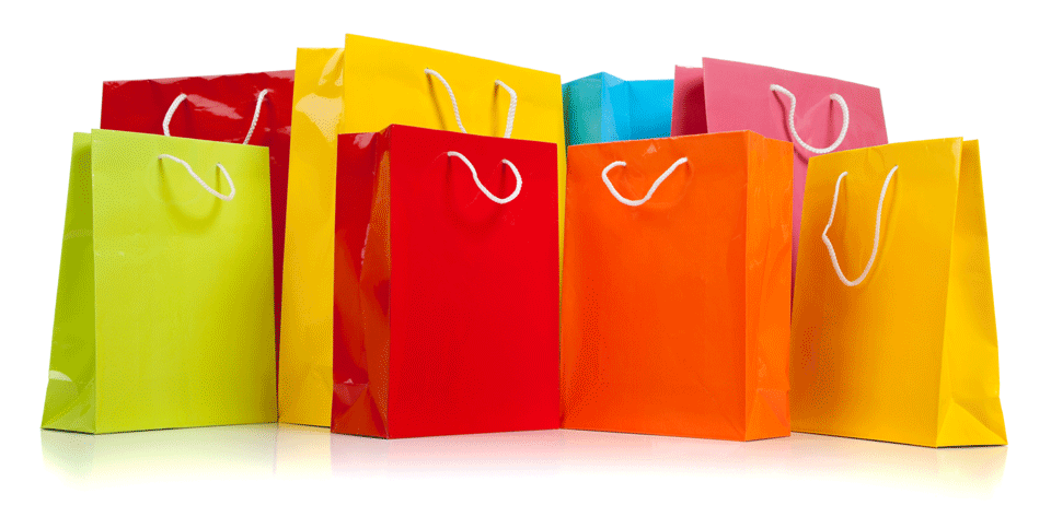 Image showing several brightly coloured shopping bags.