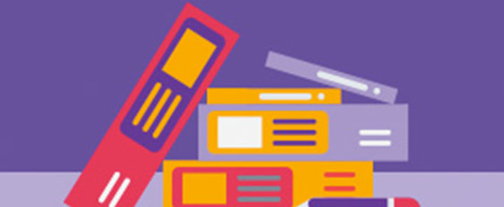graphic of coloured folders GCSE resources: all in one place